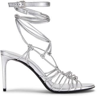 Saint Laurent Robin Zig Zag Heels in Silver | FWRD