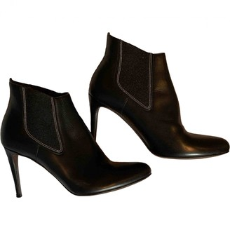 Brunello Cucinelli Black Leather Ankle boots