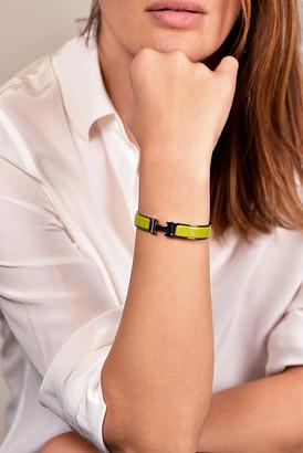 Hermes Narrow Clic H Bracelet (Chartreuse/Palladium Plated) - PM