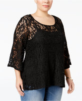 Style&Co. Style & Co. Plus Size Lace High-Low Swing Top, Only at Macy's