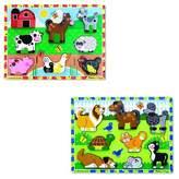 Melissa & Doug Wooden Chunky Puzzles Set - Farm and Pets 16pc