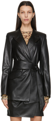 Nanushka Black Vegan Leather Bea Blazer
