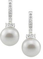 Carolee Pave Crystal Half Hoop White Pearl Earrings - Silvertone
