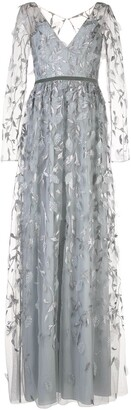 Marchesa Notte Leaf-Embroidered Gown