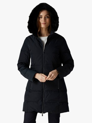 Jaeger Waisted Quilted Coat, Black