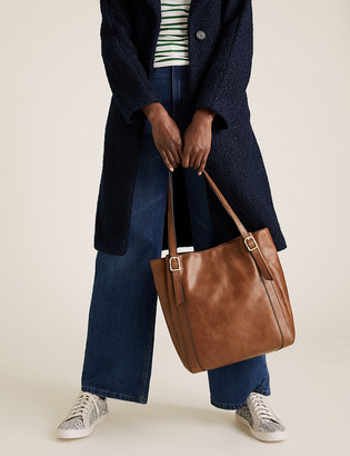 Marks and Spencer Leather Buckle Detail Hobo Bag