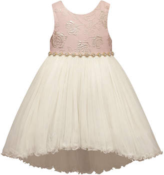 Princess Girls Couture Princess Girls' Special Occasion Dresses PINK - Pink & Gold Jacquard-Bodice Hi-Low Dress - Toddler & Girls