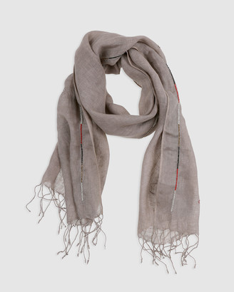 Arms Of Eve Maasai Beaded Linen Scarf - Taupe