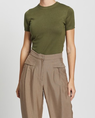 Forcast Women's Green Workwear Tops - Catherine Short Sleeve Knit - Size XS at The Iconic