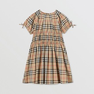 Burberry Childrens Ruched Panel Vintage Check Cotton Dress