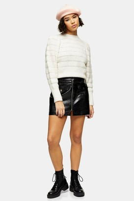 Topshop Womens Petite Black Crocodile Zip Through Pu Skirt - Black