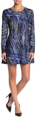 Papillon Abstract Long Sleeve A-Line Mini Dress