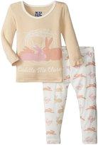 Kickee Pants Print Pajama Set (Baby) - Girl Natural Hare - New Born