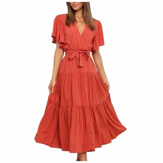 Zoiki Sexy Ruffle Ties Up A-Line Dress V Neck Short Sleeve Pleated Loose Maxi Dresses Vintage Solid Dress for Party Work Army Green