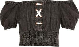 River Island Girls Black lace-up bardot denim top