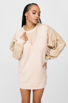 Nasty Gal Womens V Back Soon Knitted Mini Dress - Stone
