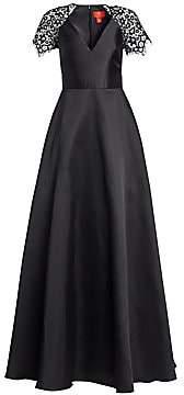 ML Monique Lhuillier Women's Lace-Sleeve A-Line Gown