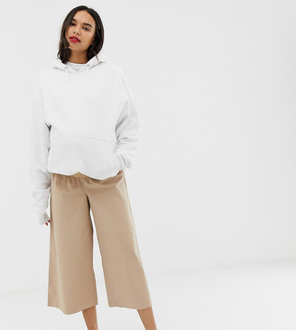 Asos DESIGN Maternity casual culotte pants in twill with under bump waistband-Beige