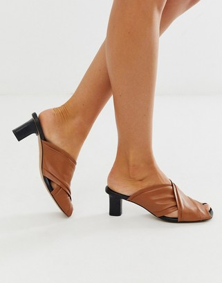 And other stories & criss cross soft leather mules in cognac-Brown