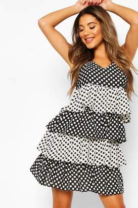 boohoo Polka Dot Ruffle Skater Mini Dress