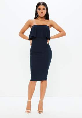 Missguided Navy Frill Bandeau Bodycon Dress