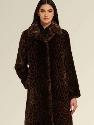 DKNY Donna Karan Women's Faux Leopard Coat - Leopard - Size XX-Small