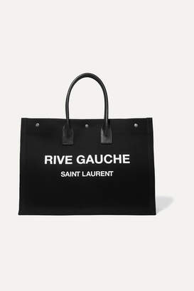 Saint Laurent Noe Leather-trimmed Printed Canvas Tote - Black