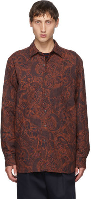Dries Van Noten Red and Navy Quilted Shirt