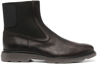 Hogan Panelled Leather Ankle Boots
