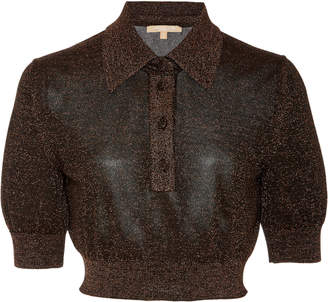 Michael Kors Cropped Metallic Stretch-Knit Polo Shirt