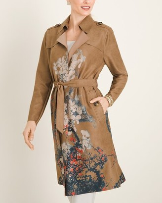 Chico's Floral Faux-Suede Trench Coat