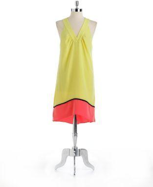 Oleg Cassini Colorblock Halter Shift Dress
