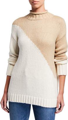 LISA TODD The Summit Diagonal Colorblock Mock Neck Sweater