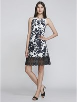 Carmen Marc Valvo Floral Jacquard Cocktail With Lace Hem.