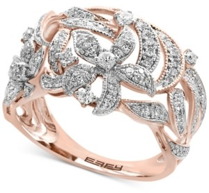Effy Diamond Pave Floral-Inspired Statement Ring (5/8 ct. t.w.) in 14k Rose Gold