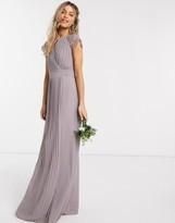TFNC bridesmaid lace sleeve maxi dress in gray