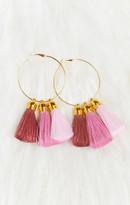 MUMU Souci Tassels ~ Triple Tassel Earrings ~ Mauve