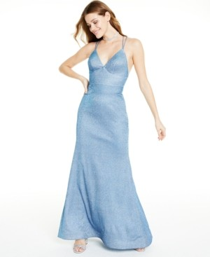 Thumbnail for your product : Blondie Nites Juniors' Metallic Glitter Gown