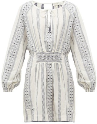 ZEUS + DIONE Striped Balloon-sleeve Mini Dress - White Multi
