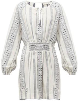 ZEUS + DIONE Striped Balloon-sleeve Mini Dress - Womens - White Multi