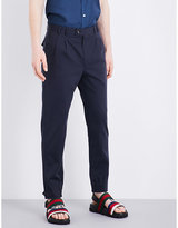 Salvatore Ferragamo Elasticated Cuff Straight-leg Mid-rise Cotton Trousers