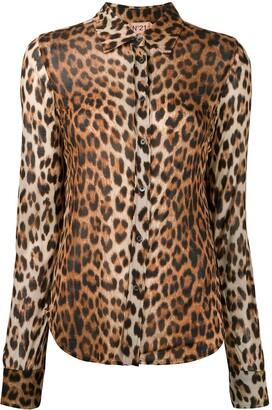 No.21 Leopard Print Curved Hem Shirt