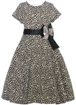 Mia Juliana Little Girls Leopard Spot Black Bow Christmas Dress