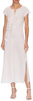 Calypso St. Barth Dimitra Linen Embellished Tea Length Dress
