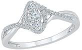 1/4 CT.T.W Round White Diamond Prong Set Three Stone Ring in 10K White Gold