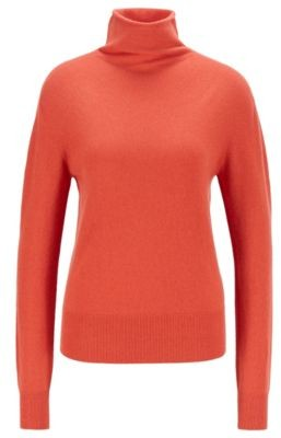 HUGO BOSS Funnel-neck sweater in pure cashmere with seamless construction
