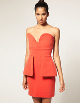 Vendella Peplum Structured Bandeau Dress