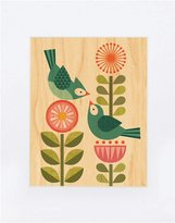 Petit Collage Small Unframed Print on Wood- Blue Bird Love