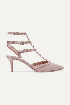 Valentino Garavani Rockstud 65 Leather Pumps - Antique rose