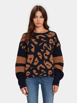 John & Jenn Finn Leopard Varsity Sweater